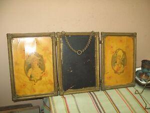 Antique Tri Fold Folding Dresser Beveled Mirror 2