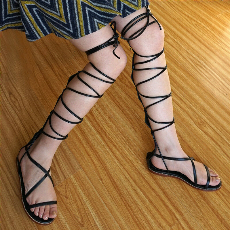 Womens Strappy Knee High Roman Gladiator Sandals Flats Summer Boots Zip shoes