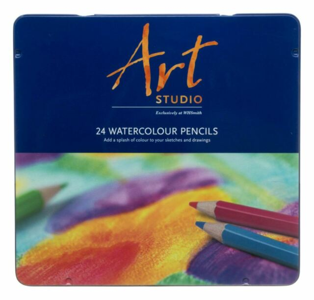 WHSmith Assorted Colour Watercolour Pencils Pre Shapened Ready To Use Pack Of 12
