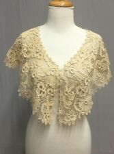 #20 269 Edwardian 1900 1910's Handmade Irish Crochet Lace Cape Large Collar