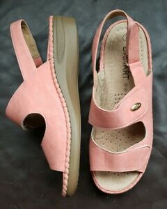 exclusive shoes many styles online here Details about Ladies Size 7 Damart Peach Comfort Shoes / Sandals / Wedges,  Adjustable Straps