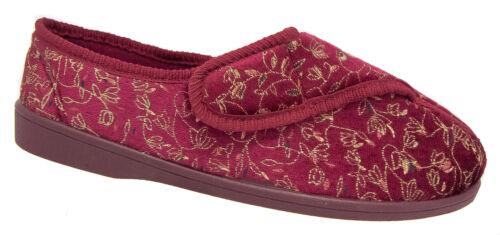 Pantofole donna lavabili/rosso in velluto floreale Zedzzz TG 3 a 8