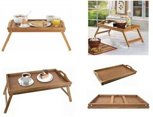 bamboo wood wooden breakfast serving lap tray over bed table with folding legs ebay. Black Bedroom Furniture Sets. Home Design Ideas