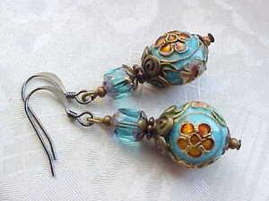 Cloisonne-Earrings-Artist-Floral-Romantic-French-Blue-Marie-Antoinette-Cosplay