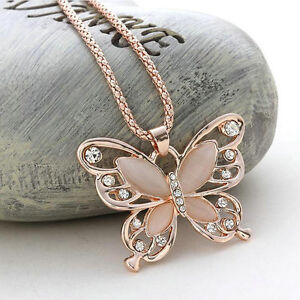 Fashion-Women-Rose-Gold-Opal-Butterfly-Charm-Pendant-Long-Chain-Necklace-Jewelry