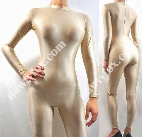 Zantai Nude Skin Mock Neck Long Sleeve Unitard Bodysuit Aerobic Costume