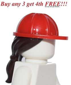 ☀️NEW Lego Minifig Hair Female Girl RED HARD CONSTRUCTION PONYTAIL ... 0a61490740b2