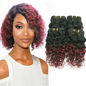 Ombre-Kinkys-curly-Tissage-Naturel-Cheveux-bresilien-Boucles-Vierge-Humain-Weave