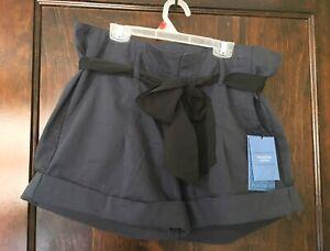Simply-Vera-Wang-Sz-12-Womens-034-Silk-Blue-034-Navy-Shorts-w-Black-Ribbon-Belt-NWT
