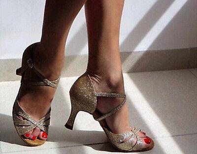 New Women Gold Glitter Latin Salsa Ballroom Dance Shoes Size 5-10