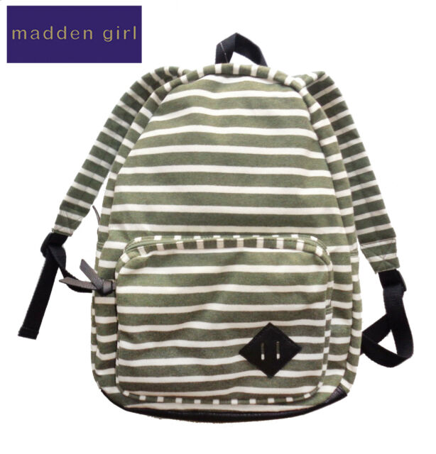a621800efdbf4b New Madden Girl MGKOLLAR OLIVE White Striped Knit Canvas School Backpack NWT