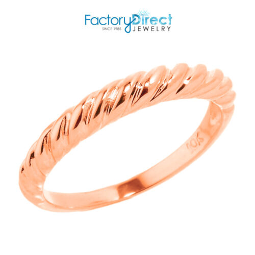 7 8 2 3 4 5 10k Rose Gold Twisted Rope Knuckle Ring Size 1 6