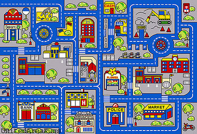 3x5 Rug Play Road Driving Time Street Car Kids Town Map