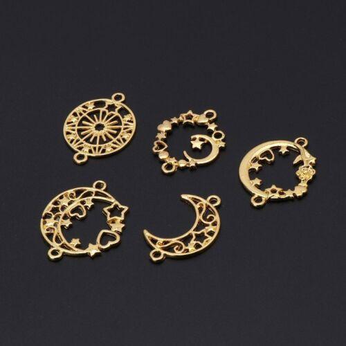5Pcs Moon Star Metal Frame Connector Bezel Blank Setting UV Resin Jewelry Making