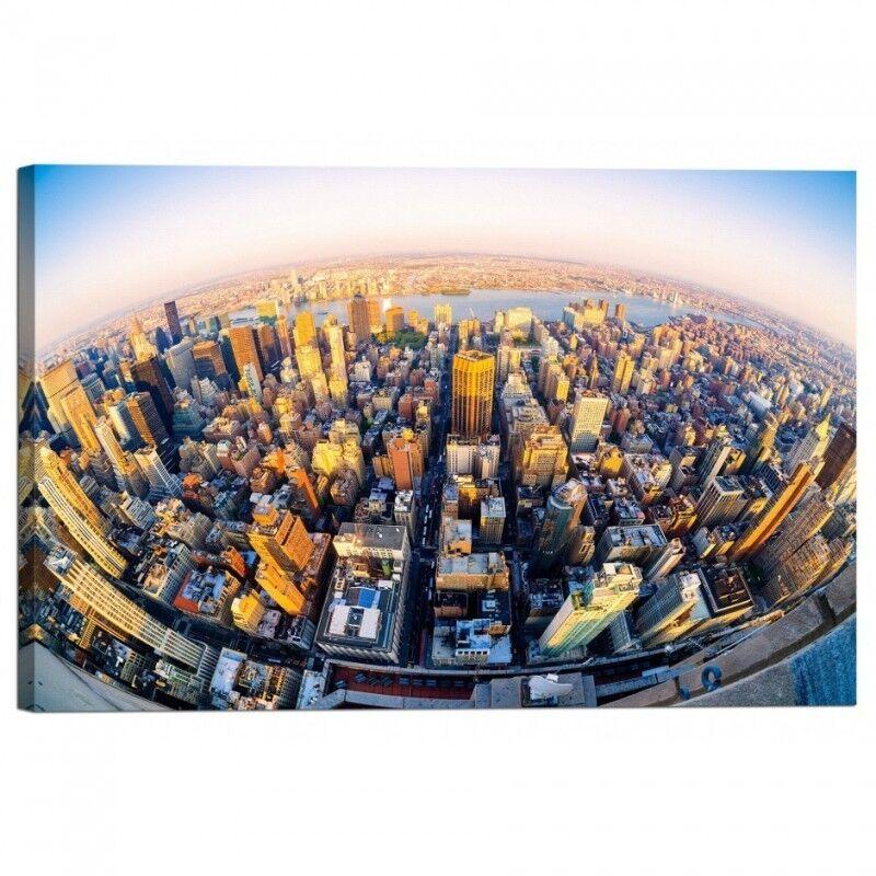 Quadro Stampa su Tela con Telaio Fisheye Fisheye Fisheye vista aerea di New York City al tramont | De Fin D'année Bonnes Affaires Vente  012678