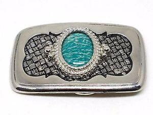 Green-Amazonite-Stone-Cabochon-Silver-Belt-Buckle-Vintage