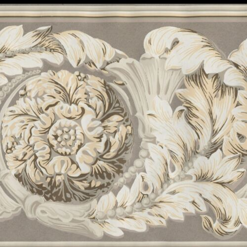 Victorian Medallion Scrolls Wallpaper Border Gold Brown White York Borders 632
