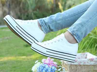 Womens Fashion High Top Sneakers Lace Up Platform Wedge Casual Canvas Shoes 54