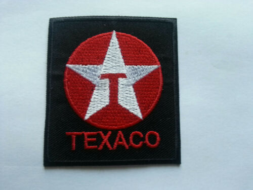 c MOTORSPORTS RACING TYRE SEW ON BLACK BLOCK IRON ON PATCH: TEXACO FUELS