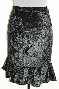 The-Limited-Black-Skirt-8-M-Pencil-Ruffle-Hem-Velour-Lined-NEW-FREE-SHIPPING