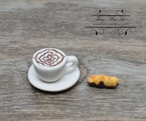 1:12 Dollhouse Miniature Cappuccino with Chocolate Dipped Biscotti on Saucer BD