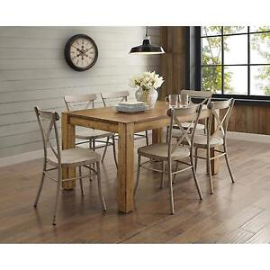 distressed white dining room furniture | 7 Piece Rustic Brown Dining Room Set Kitchen Furniture ...