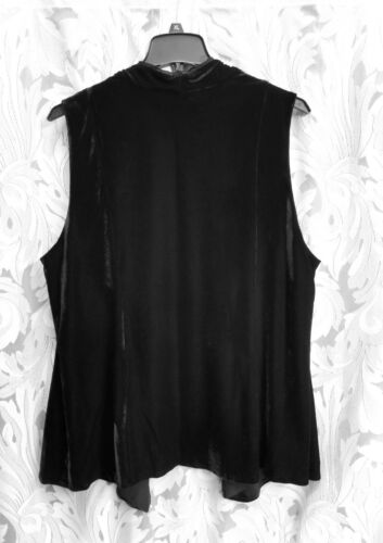 LONG BLACK OPEN DRAPE FRONT VELOUR CHIFFON CARDIGAN VEST TOP W//POCKETS~2X~3X~NEW