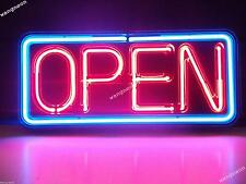 New Neon Open Business Sign Real Glass Hand-Blown For Window Wall FREE SHIPPING