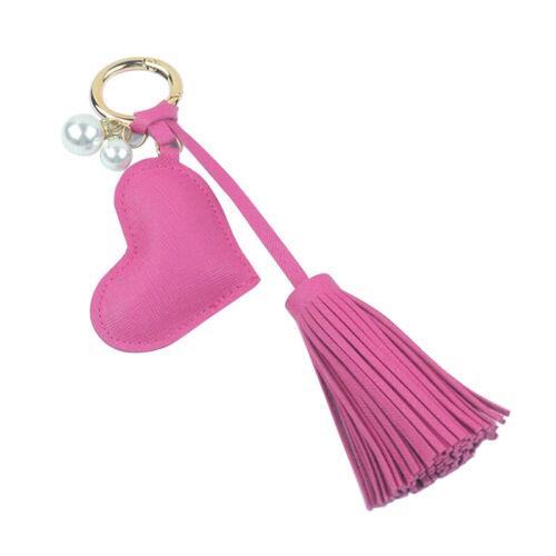 Peach Heart Pearl PU Keychain Tassel Keychain Women Bag Accessories Jewelry CB