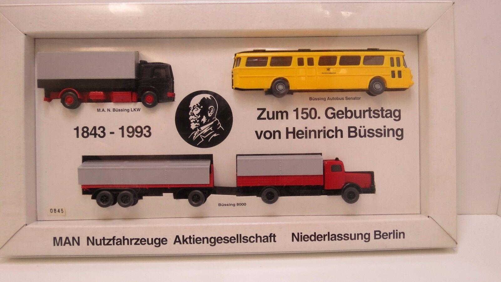 3 Camions Bus on 150 anniversaire Heinrich Büssing 1843-1993 Wiking 1: 87 Neuf dans sa boîte | Facile à Nettoyer Surface