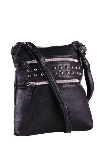 Womens Faux Leather Studded Cross Body Shoulder Messenger Handbag Purse Bag