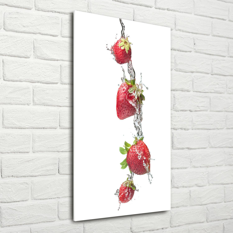 Wand-Bild Kunstdruck aus Hart-Glas Hochformat 70x140 Erdbeeren