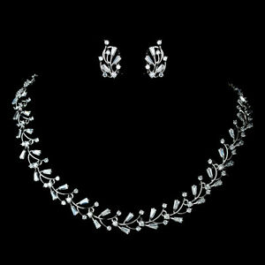 3c5c7073a0a3b Details about Bridal Set with CZ Crystals Delicate Floral Vine Necklace &  Earrings Choker