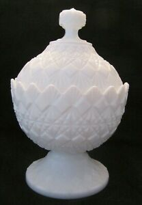 "Fenton Old Virginia Glass ""fine Cut & Block"" Lidded Compote/candy Dish 1955-1970 Diversified Latest Designs Art Glass"