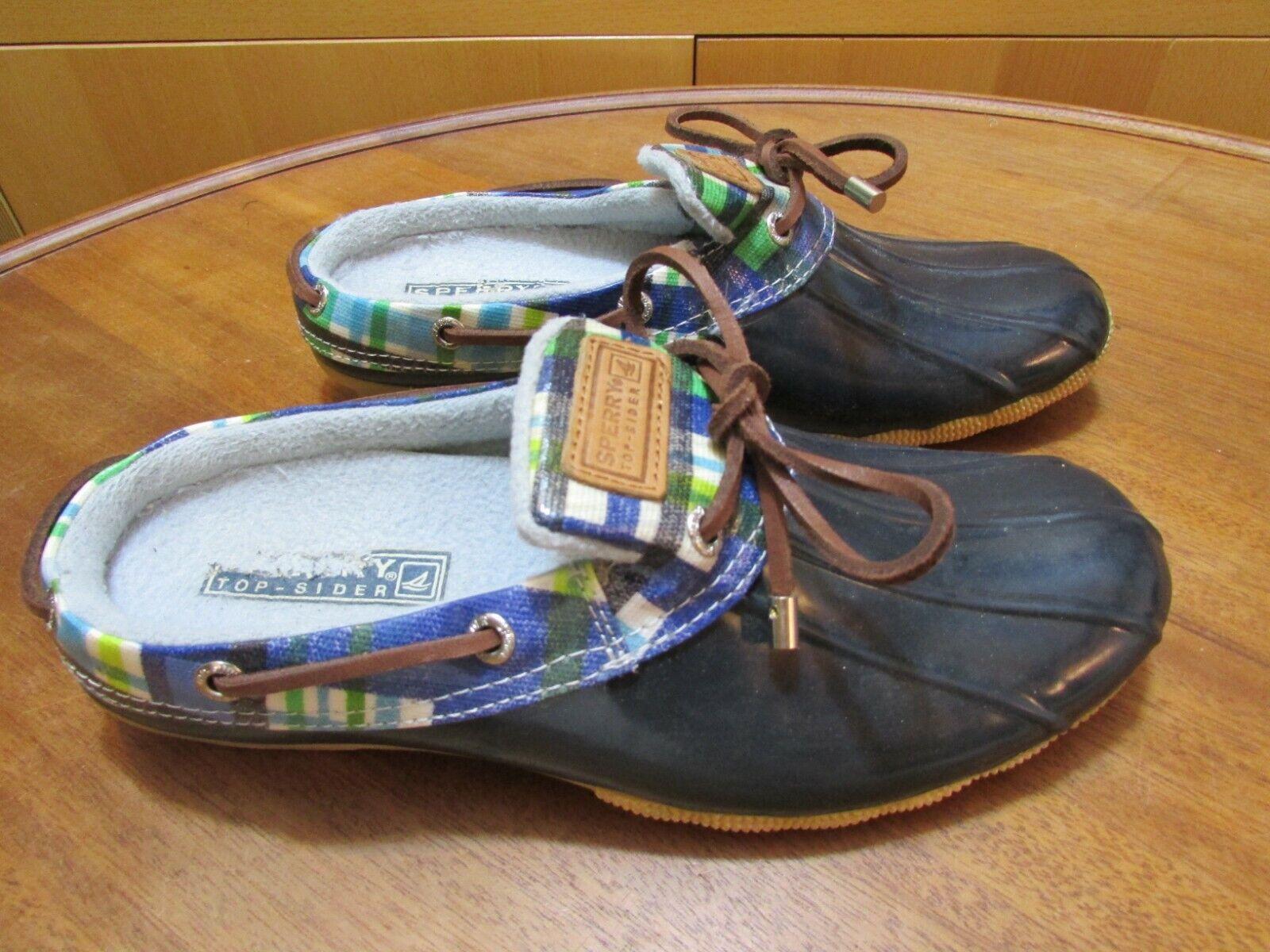 SPERRY TOP-SIDER Women's 7.5 Navy Blue Waterproof Rubber Boot Slip-On Shoes