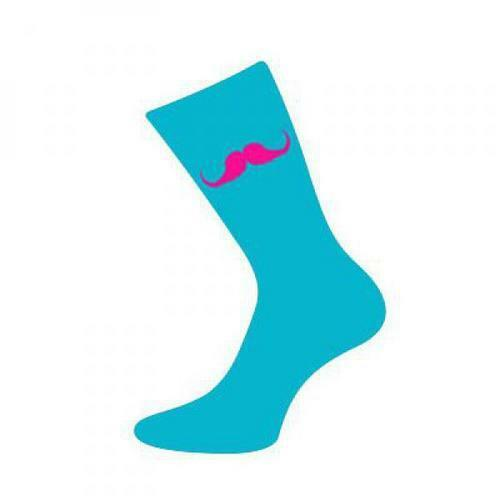 Turquoise Socks With Pink Moustache Movember Style Novelty Gift For Him UK 5-12
