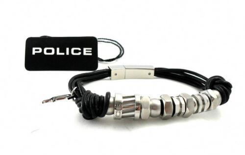 POLICE Leder Band Armband Edelstahl schwarz Element PJ22295BLB.01.19