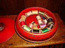 Vintage Excel Sewing Basket Metal Tin Box Red 3 Piece Thread Collectible