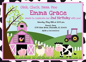 Farm girl pink animal petting zoo birthday party invitation image is loading farm girl pink animal petting zoo birthday party stopboris Choice Image