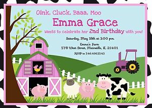 Details About Farm Girl Pink Animal Petting Zoo Birthday Party Invitation