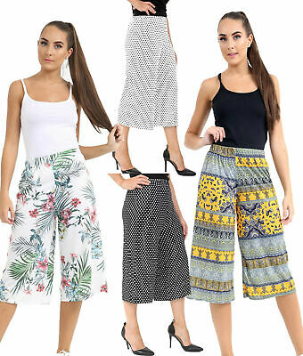 Ladies Women/'s Elasticated Stretch Wide Leg Culottes Shorts Plus Size 8-26