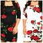 Womens-Plussize-Off-Shoulder-Black-Red-Rose-Bodycon-Midi-Party-Dress-1X-2X thumbnail 3
