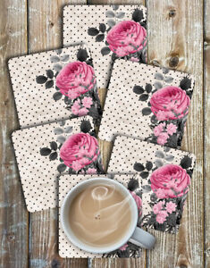 Drink Coasters Flowers and Dots Set of 6 Non Slip Neoprene Square Coaster Set