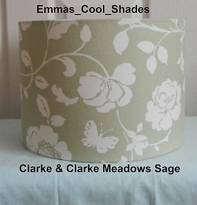 HANDMADE LAMPSHAD Clarke and Clarke Harriet sage new //Green