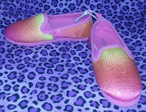 FADED GLORY GIRLS/' PINK /& ORANGE SEQUIN SLIP ON SHOES