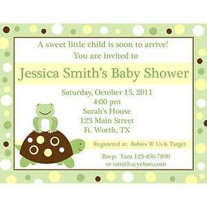20 personalized baby shower invitations turtle and frog yellow image is loading 20 personalized baby shower invitations turtle and frog filmwisefo