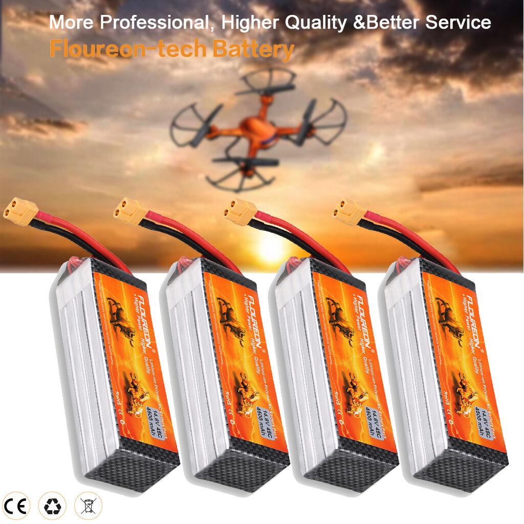 4 pezzi 4s 14.8v 4500mah 45c xt60 Batteria per RC  Auto Veicolo DRONE FPV Top  più sconto