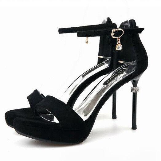 Sandalen Stilett Elegant 12 cm Schwarz Strass Leder Kunststoff Komfortabel 9466