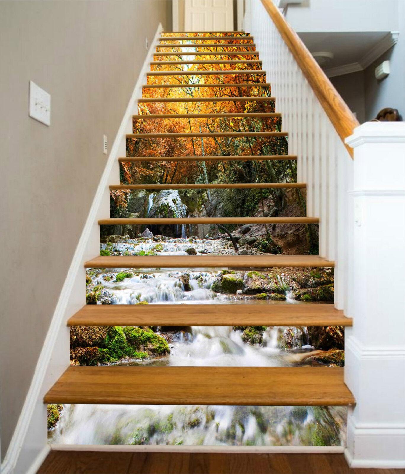 3D Urwaldfluss 321 Stair Risers Dekoration Fototapete Vinyl Aufkleber Tapete DE