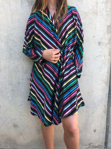Vintage 1940s Rainbow Stripe Rayon Over Coat Jacke